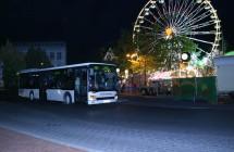 Vehling Bus parkt vor der Sim Jü Kirmes in Werne.