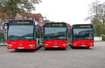 Drei Linienbusse auf dem Betriebshof von Vehling Reisen in Werne.